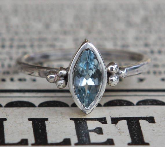 Natural Blue Topaz Ring, Girlfriend Engagement Gift, Clothing Gift, November Birthstone Topaz, Girlfriend Gift, Marquise Cut Topaz