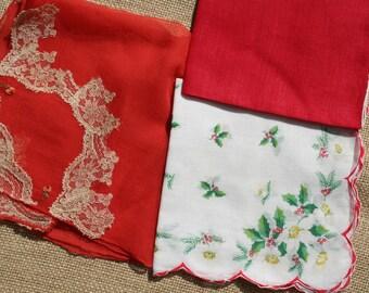 Vintage Christmas Hankies Handkerchief Lot of 3