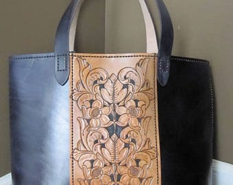 Large Tooled Leather Shopping Tote