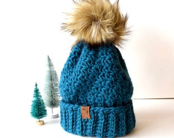 TUNDRA Beanie In Dark Teal with Faux Fur Pom Pom, Wool, Blue/Green, MMIM, Handmade, Crochet, Winter Hat, Kids, Women, Turquoise,
