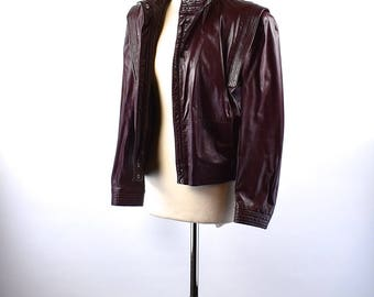 Women's Cordovan Cafe Racer Jacket by Winlit, Size 11-12