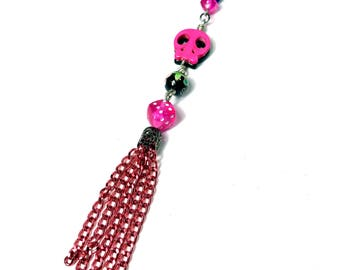 Day of the Dead Skull Purse Charm, Pink Tassel Purse Charm, Pink and Black, Gift for Teen Girl, Sugar Skull Accessories