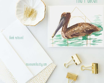 Pelican Gifts Pelican Painting Blank Note Card Pelican Stationery Unique Cards Pelican Collectible Coastal Note Cards Fine Stationery