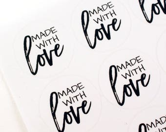 MADE WITH LOVE stickers in casual modern script and print font