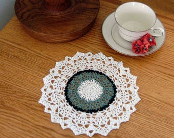 French Chic Decor Crochet Lace Doily, Green, White, Dining Room Table Accent, Elegant Home Decor, Decorative, 8 1/2 Inch Doily