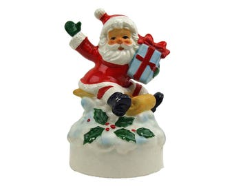 Vintage Porcelain Santa Claus Figurine Christmas Music Box Santa Claus is Coming to Town Made in Japan