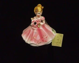 Vintage Josef Original January Birthday Faux Garnet Birthstone Porcelain Lady Figurine Hang Tag and Paper Label