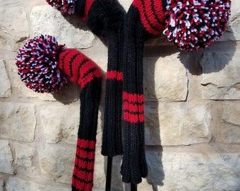 Retro Hand Knit Golf Club Head Covers Set of 3 Black Red White with Pom Pom
