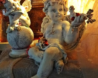 Cupid, Angel, Home Décor Piece, Stone/Resin Compound, Angel, The Royal seed collector, OOAK