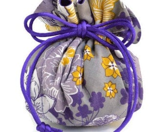 Purple & Mustard Floral on Gray Jewelry Travel Pouch