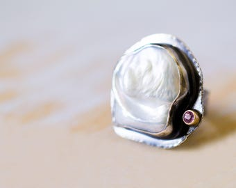 White Baroque Pearl Ring, Pink Sapphire in 14K Gold and Sterling Silver Cocktail Ring - Cloths of Heaven