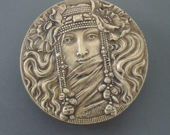 Art Nouveau Brooch - French Jewelry - Vintage Brooch - Brass Brooch - Mucha Jewelry - Goddess Jewelry - handmade jewelry