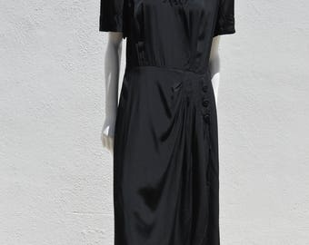Vintage 40's rayon dress hand beaded neckline art deco WWII evening gown size 10 + by thekaliman