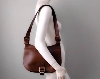 Vintage Gucci Brown Leather Large Saddle Bag