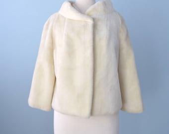 Vintage 1950s Faux Fur Jacket...Beige Ivory Faux Fur Short Jacket Cocktail Jacket