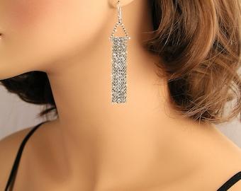 Sterling Silver Tassel Earrings, Silver Chain Earrings, Black Silver Chain Dangle Earrings, Long Sterling Tassel Earrings, Modern Jewelry
