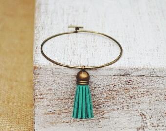Essential Oil Diffuser Tassel Bracelet   Kelly Green Tassel Bracelet   Vegan Suede Jewelry   Aromatherapy Bangle Bracelet   Stackable Bangle