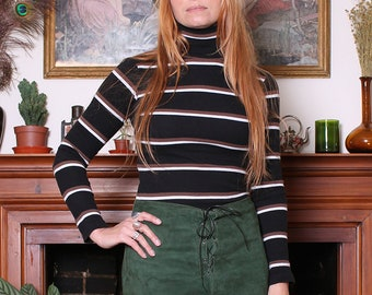 Vintage 90s Forest Green Suede Lace Up Mini Skirt M