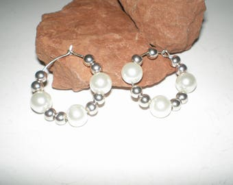 Bridal Pearls Hoop Earrings Beaded Sterling Silver Feminine Bridal Jewelry