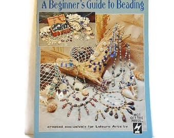 Jewelry Making Beading Necklaces A Beginners Guide How To DIY Book Leisure Arts 1995 Color Photo 18 Pages Vintage