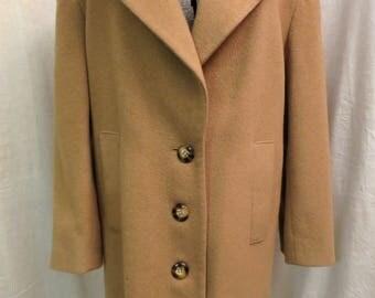 Vintage Camel Hair Coat Pure Camel's Hair Short Coat Jacobson Brand Size 12 Medium Fully Lined Classic Car Coat Jacket 1980's