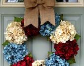 Patriotic Wreath - Summer Wreath - Patriotic Door Wreath