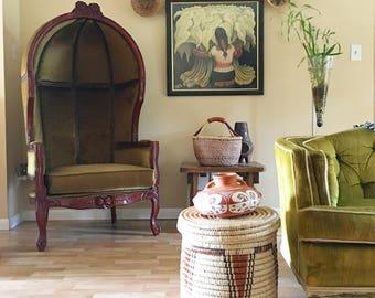 Vintage hand woven African lidded coil basket, vintage tribal basket