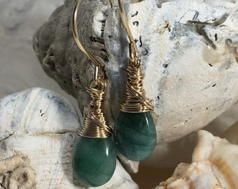 Emeralds and 14 Karat Gold Filled Earrings-Calypso
