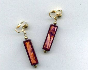hand painted clip on earrings maroon burgundy marbled pink gold dangle gift for woman