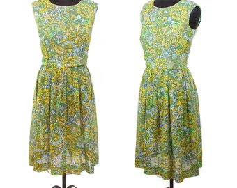 60s SANFORD ORIGINALS—Sheer Cotton Voile Day Dress—Green, Blue, and Yellow—Paisleys and Flowers—Size 10