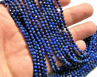 Lapis Lazuli - 3.3mm faceted round beads - full strand  121 beads - micro facted Lapis Lazuli  - PG140