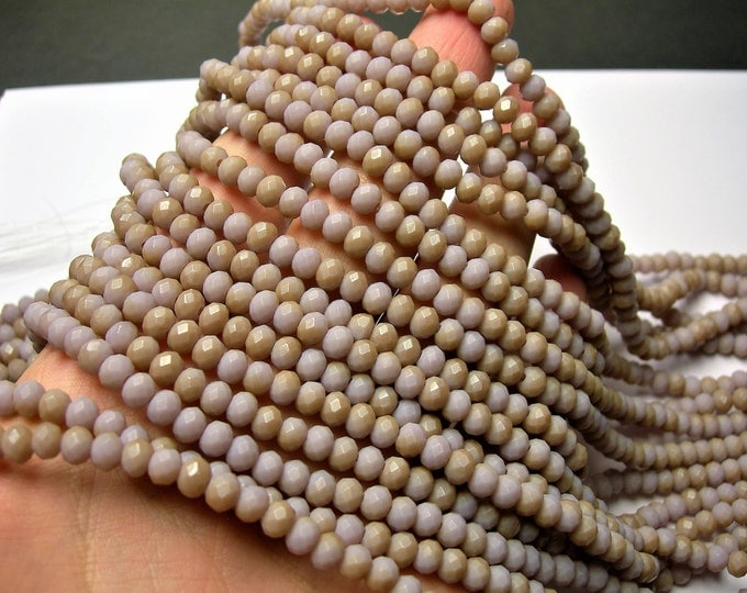 Crystal faceted rondelle - 98 pcs - 6 mm - AA quality - full strand - matte purple brown  light dual tone  - GSH80