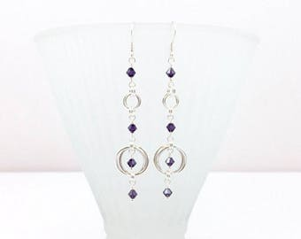 Dark Amethyst Crystal Silver Twin Ring Beaded Chainmaille Earrings