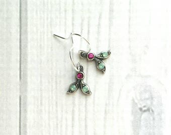 Tiny Silver Drop Earrings - Swarovski crystals - small leaf delicate intricate minimalist lightweight leaves - sterling silver hook upgrade