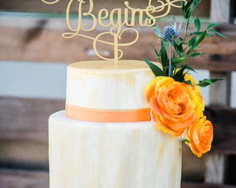 """Gold Wedding Cake Topper """"the Adventure Begins"""" in Acrylic, Glitter or Wood Script Style Cake Topper for Wanderlust Wedding (Item - TAB990)"""