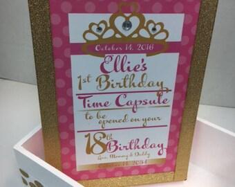 1st Birthday Time Capusule Keepsake box -CUSTOM Princess Theme