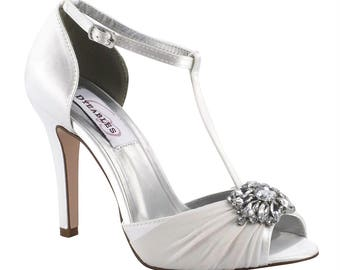 Wedding Shoes -  T-Strap Wedding Shoes - Wedding Heels - Crystal Wedding Shoes - Bridal Shoe- Custom Wedding Shoe - Choose Your Color Shoes