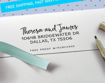 Return Address Stamp - Clean and Simple Calligraphy Address Stamp (Handlettered font) Handle or Self-Inking Address Stamp  (20499) 2 1/2 X 1