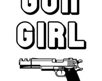 Gun Girl Womens Black Short Sleeve T Shirt 3995w