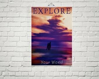 Beach Art 18x24 Poster Fine Art Print Sunset Sky Print Inspirational Poster Explore the World Art Gift for Couples Wall Art