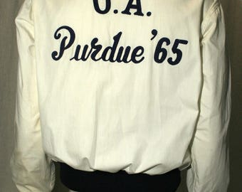 1965 Purdue University Alumni lightweight embroidered summer sports athletic white and navy blue zip-up track jacket - men's sz M