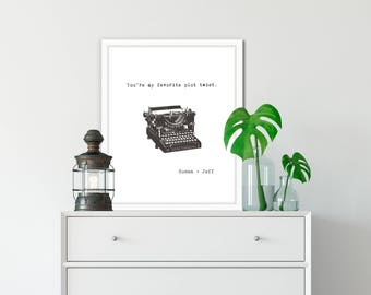 Valentines gift for boyfriend, Personalized gift for him, for her, You're my favorite plot twist, typewriter print