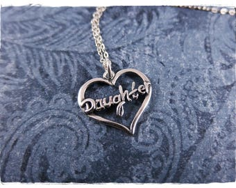 Silver Daughter Heart Necklace - Sterling Silver Daughter Heart Charm on a Delicate Sterling Silver Cable Chain or Charm Only