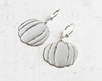 Large Antiqued Silver Pumpkin Dangle Earrings on Silver Plated Hooks