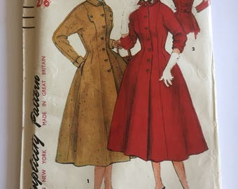Vintage 1954 uncut Simplicity fit and flare princess coat pattern 4836 - 1950s size 16 (bust 34 hips 37)