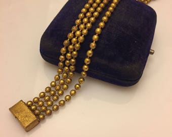 Vintage 1930s ball chain multi strand gilt metal bracelet with textured box clasp