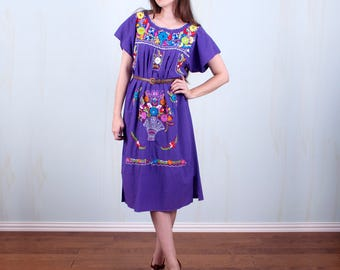 Purple Embroidered Mexican Cotton Tunic Dress Boho One Size