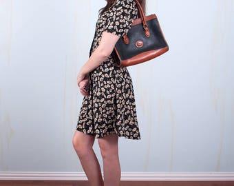 Dooney and Bourke Purse Shoulder Bag Black Brown Leather Satchel
