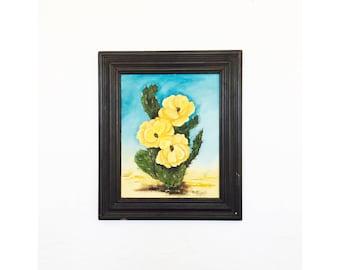 Vintage Flowering Cactus Oil Painting