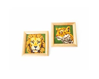 Vintage Pair of Wild Cat Needlepoint Wall Hangings